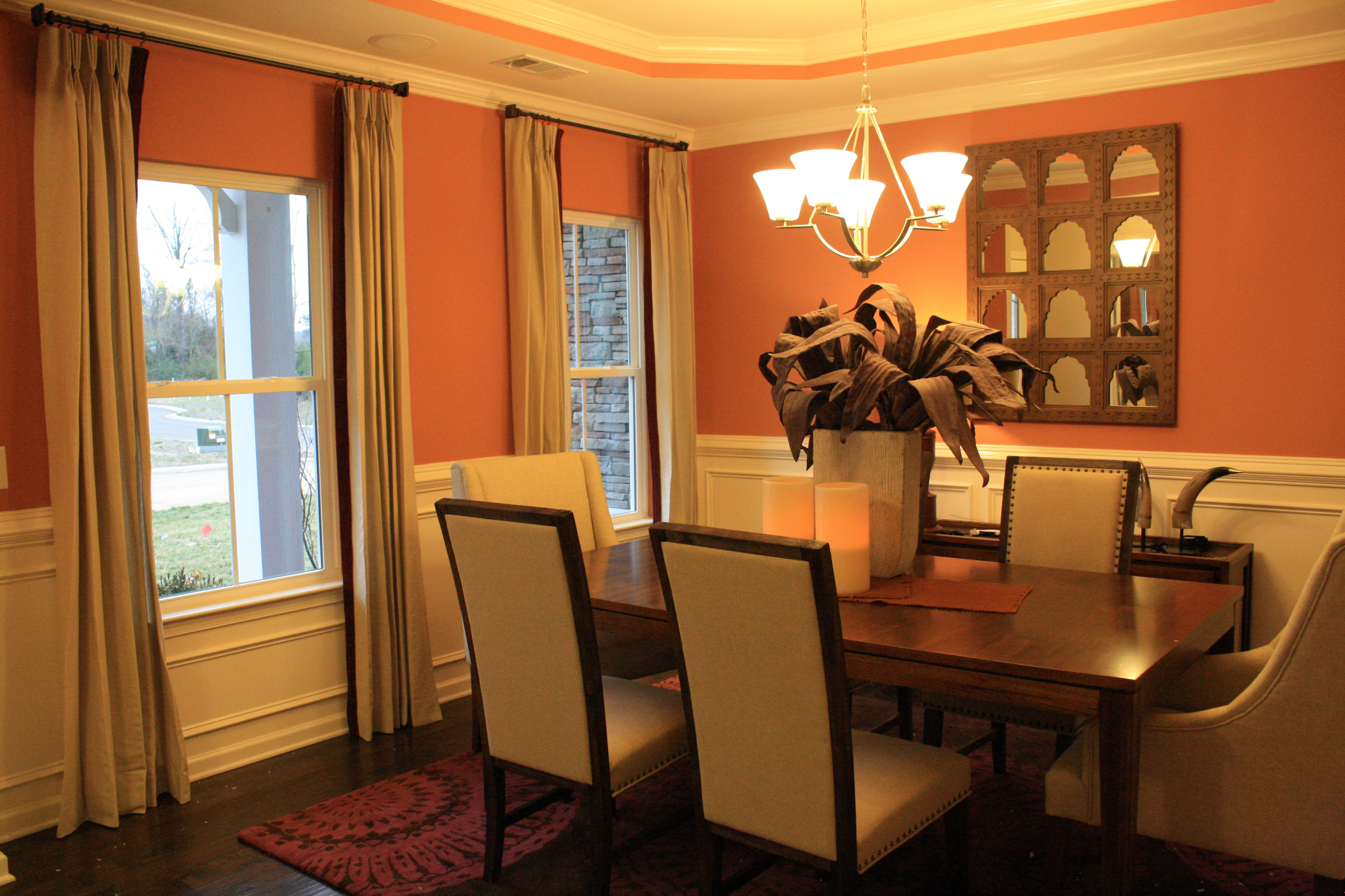 Cream spice and plum redone for Dining room ideas orange