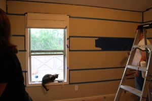 Finally have all the walls taped off and the family affair of painting has begun!