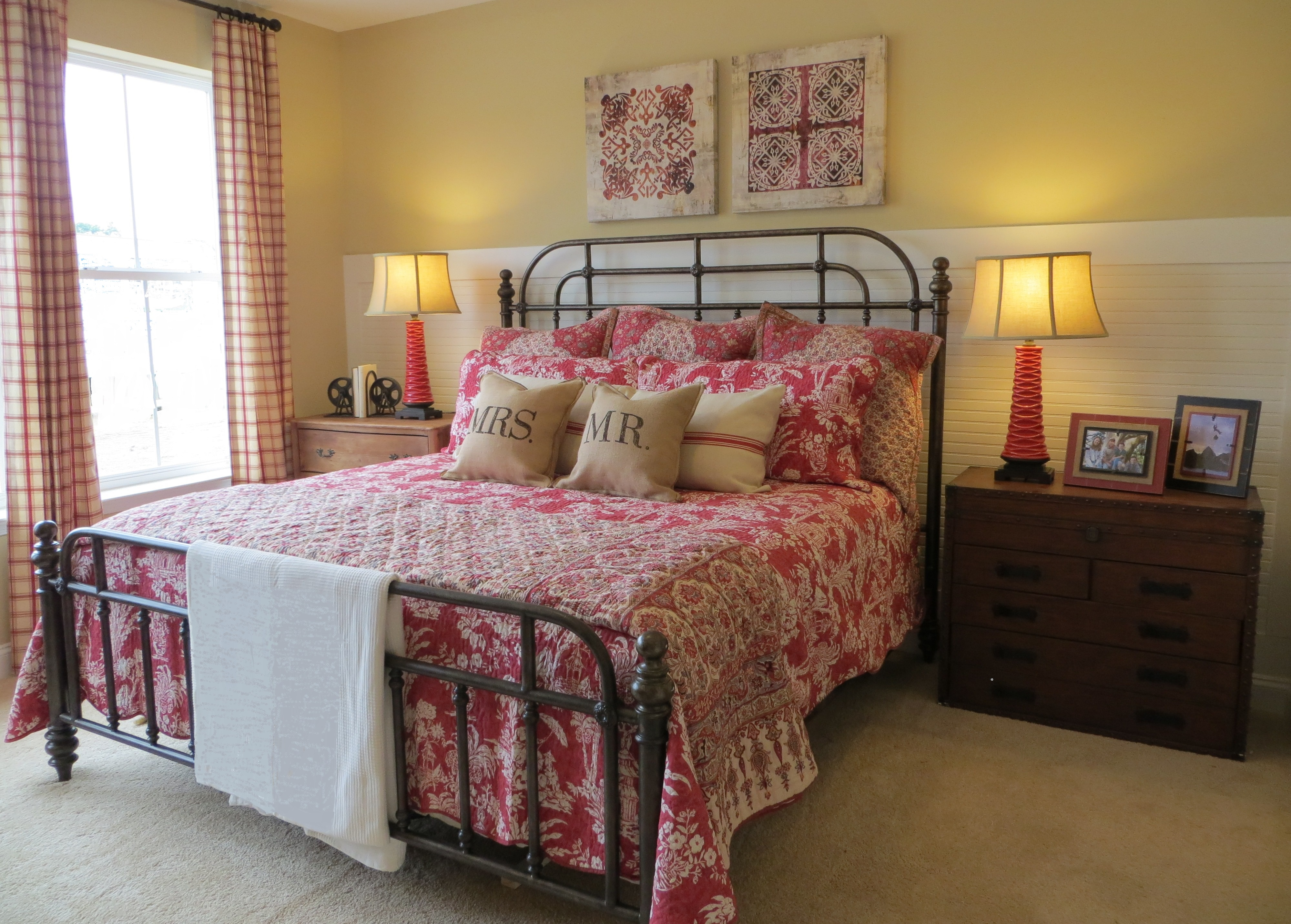 Cream Bedroom Decor: Red, Tan And Cream- Causual, Cottage Style