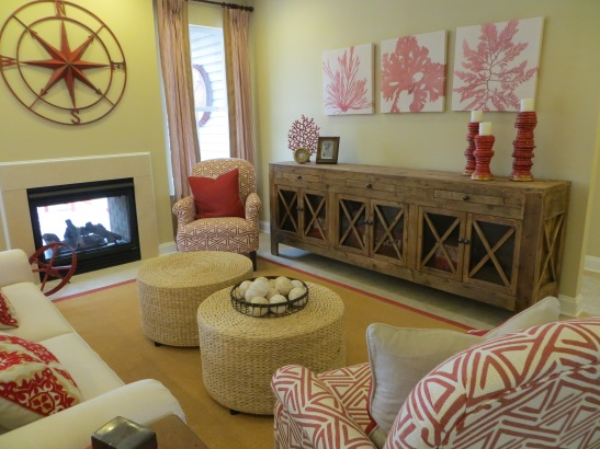Red, tan and cream family room