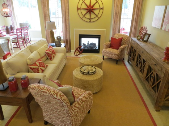 Red, tan and cream family room.
