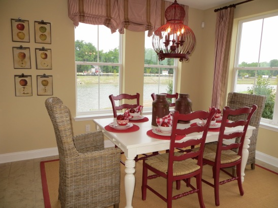 Red, tan and cream dining room